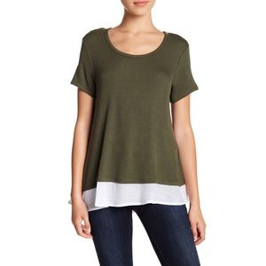 Bobeau Womens Scoop-Neck Gauze-Hem Knit Blouse NWT